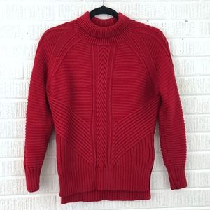 Banana Republic Red Cable Knit Turtleneck Sweater